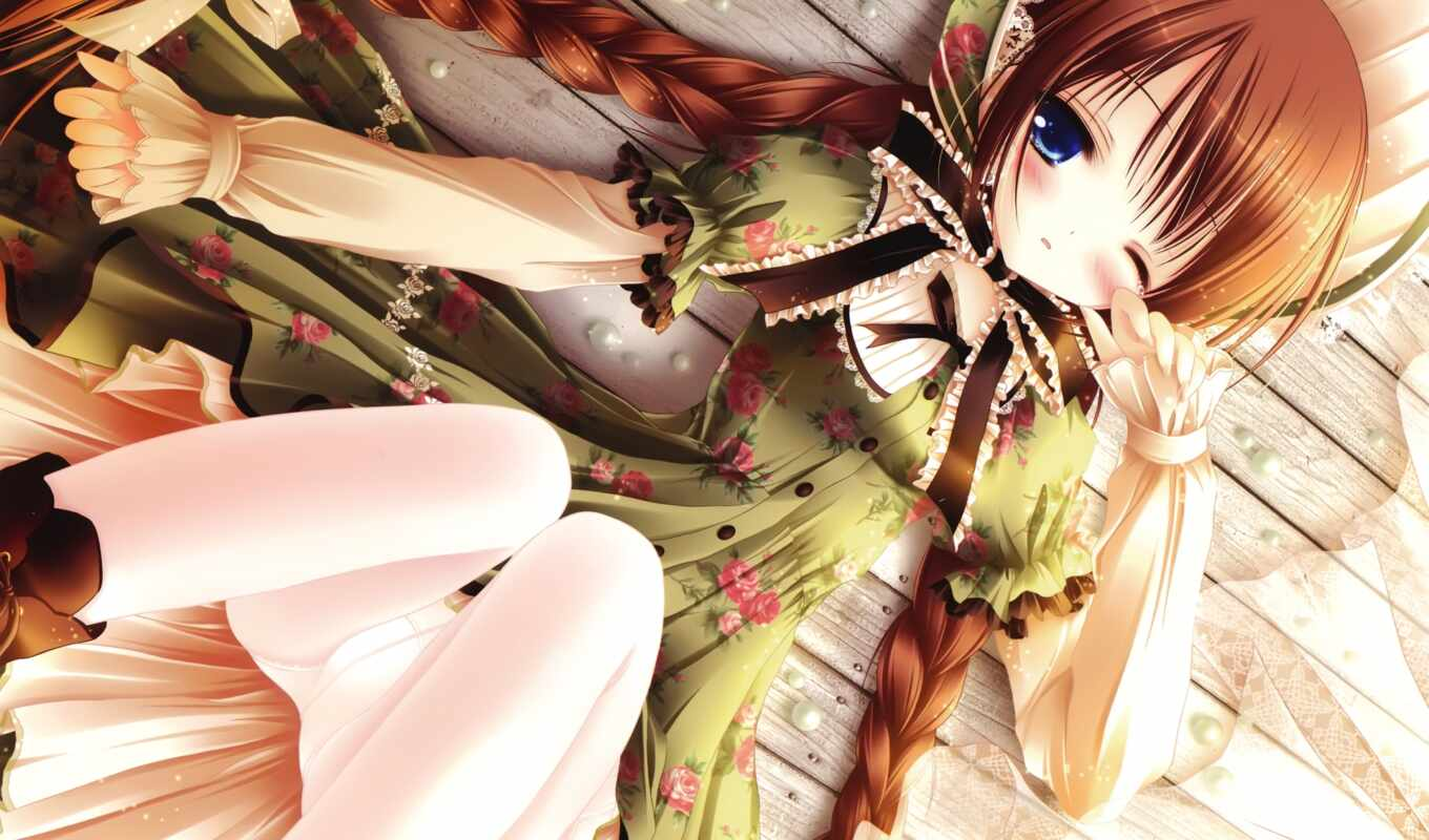 blue, dress, green, eyes, anime, hair, tinkle, brown, long,