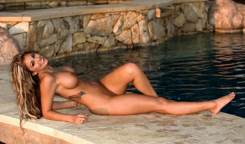 бассейна, девка, сочная,
