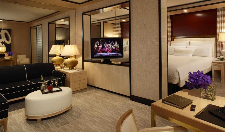 комната, стиль, кресло, диван, кровать, интерьер, дизайн, квартира, день, телевизор, las, растения, vegas, wynn, encore,