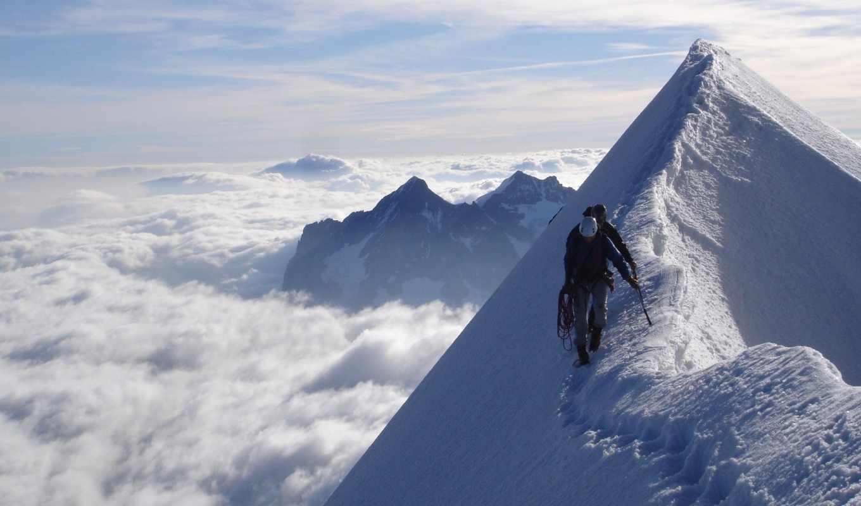 небо, люди, горы, гора, снег, картинка, след, top, облаками, со,