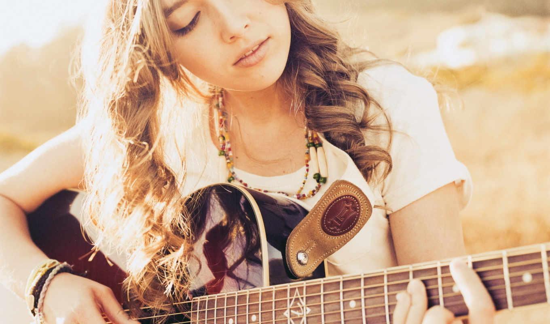 девушка, гитара, музыка, гитару, под, песни,