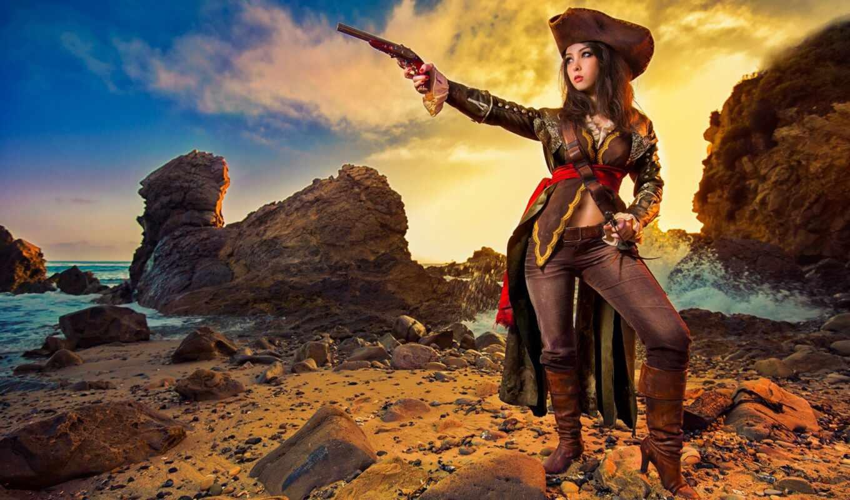 cosplay, пиратка, девушка, creed, hii, assassin, сниматься, пиратский, оружие, море