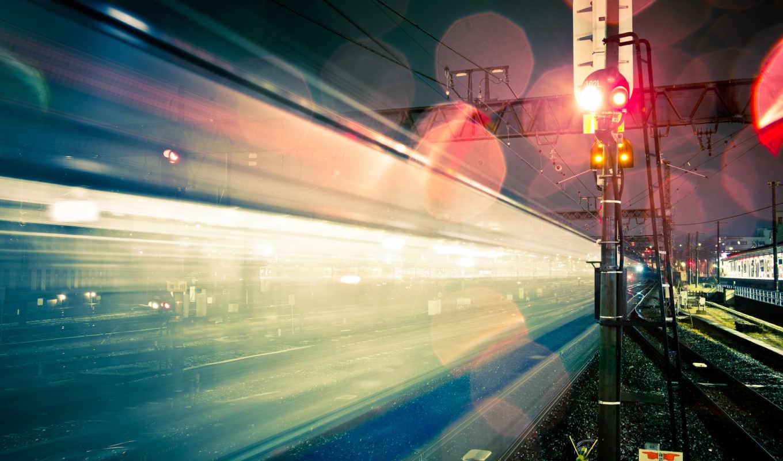 ночь, свет, город, железная, дорога, выдержка, япония, блики,