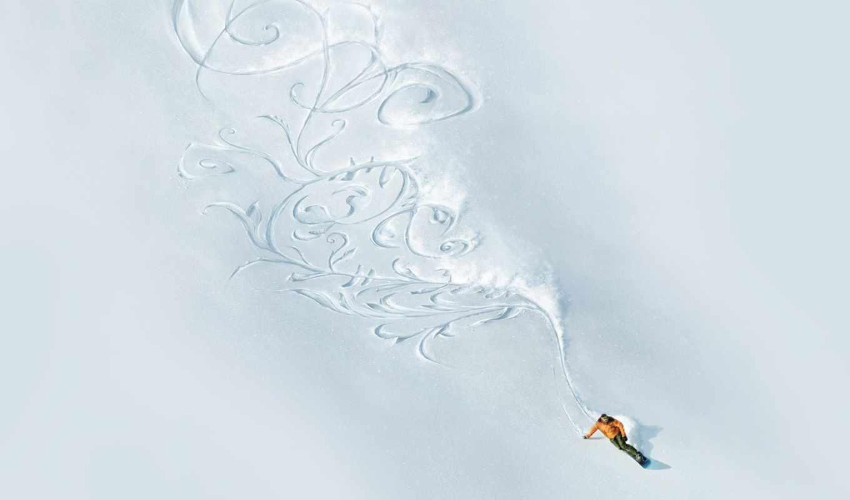 узор, снег, сноуборд, горы, картинка,