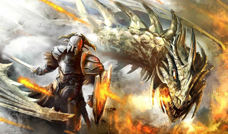 воин, дракон, арт, оружие, монстр, ящер, битва, картинка, pack, best, щит, фэнтези, нравится,