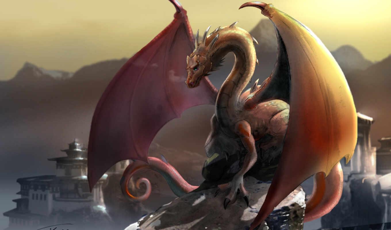 дракон, горы, тибет, картинка, картинку,