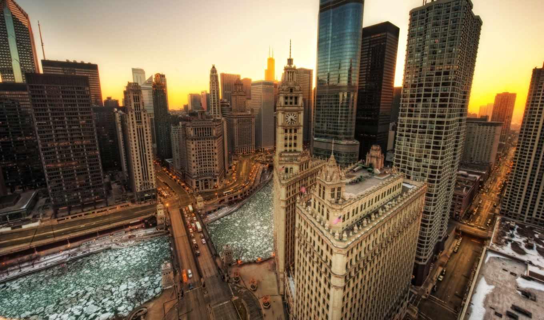 река, chicago, desktop, мегаполис, небоскребы,