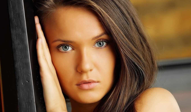 девушка, глазами, голубыми, девушки,