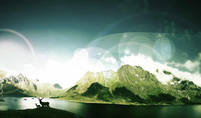 долина, картинка, корабль, fantasy, река, planet, devushki,