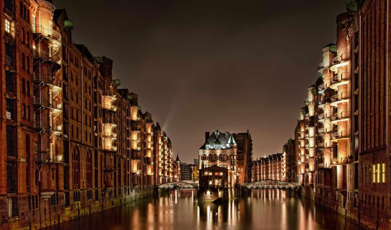 hamburg, германия, мост, здания, ночь, дома, свет, speicherstadt,