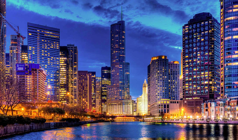 trump, tower, chicago, города, streeterville, illinois, международный, отель, usa, трампа, download, огни, сша, город,
