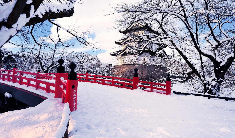 япония, зима, снег, город, префектура, хиросаки, аомори,