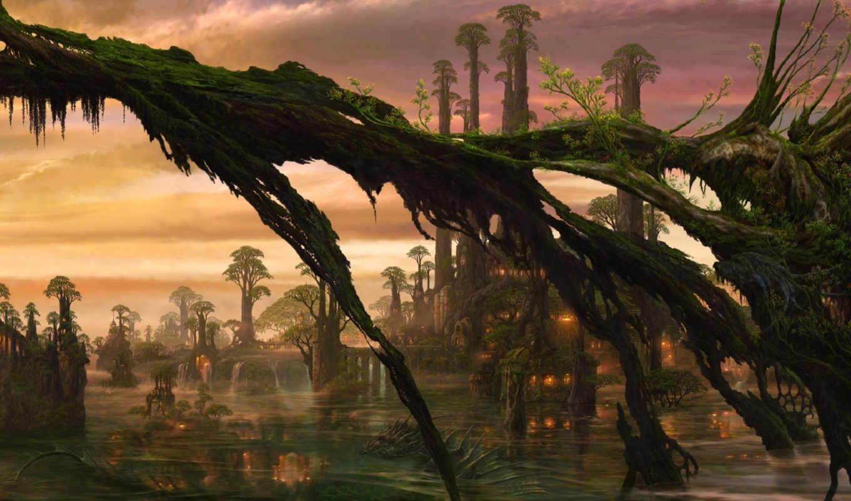 деревя, fantasy, существо, ucchiey, горы, swamp,