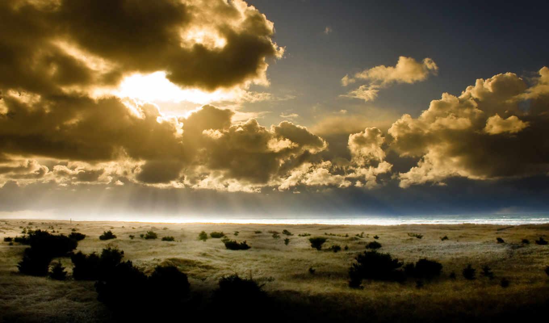 солнце, горизонт, лучи, небо, pacific, sunset, nature, desktop, картинка, krajobraz, media, рисунки,