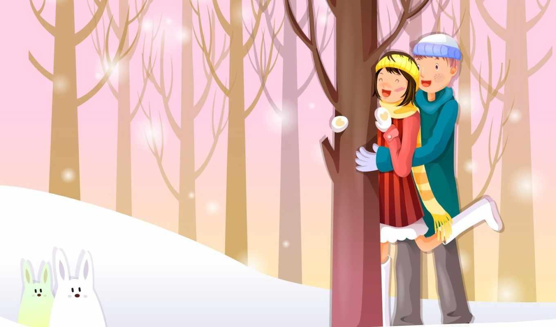 деревья, пара, вектор, кролики, зима, смотрите,