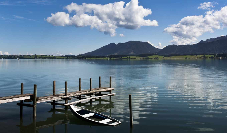 озеро, лодка, мост, горы, небо,