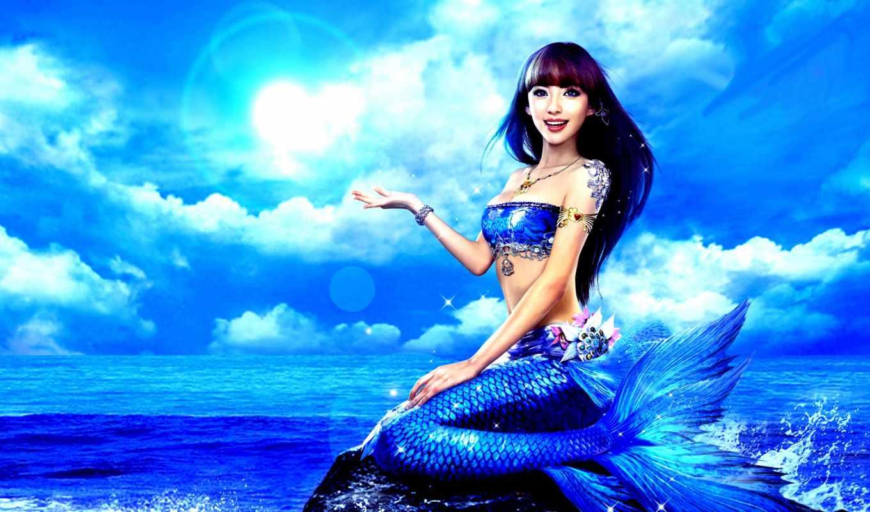 русалка, blue, девушка, tail, ocean, asian, море,