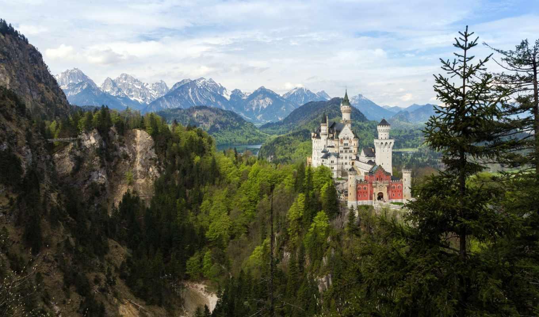 замок, нойшванштайн, германия, лес,