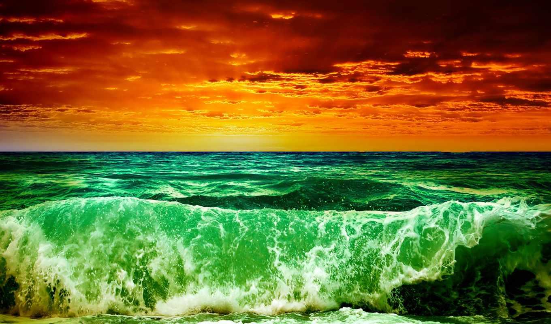 море, буря, волны, небо, закат, облака, rendering, landscape, морская, обработка,