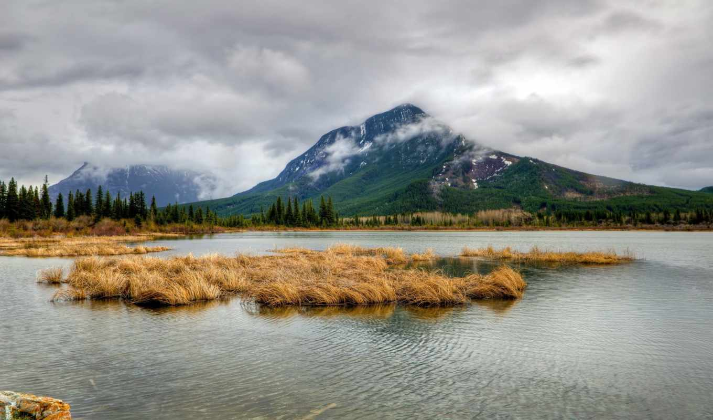 рябь, гарибальди, снег, отражение, склон, деревья, камни, forests, water, nature, Канада, деревья