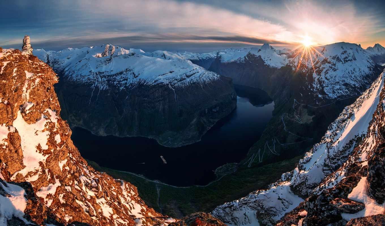 ,горы, река, скалы, солнце,небо,снег,