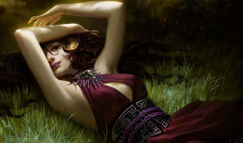 девушка, лежит, трава, art, волосы, платье, janaschi,