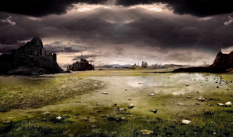 castle, ogorodua, swamp, darkness,