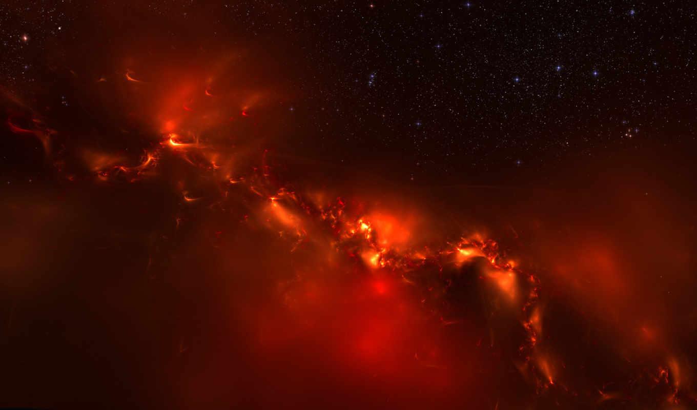 вселенная, свет, огонь, galaxy, во, панорама, эффекты, вселенной, огненные, space, cosmos, graphics, stars, картинка, dark,