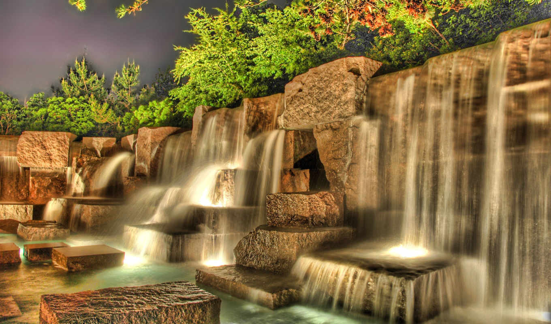 водопад, озеро, горы, камень, водопады,