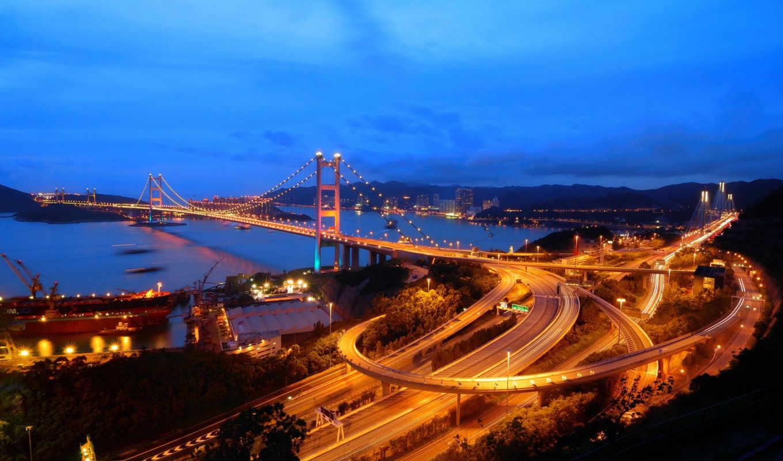 kong, hong, tsing, мост, ночь, город, дороги,