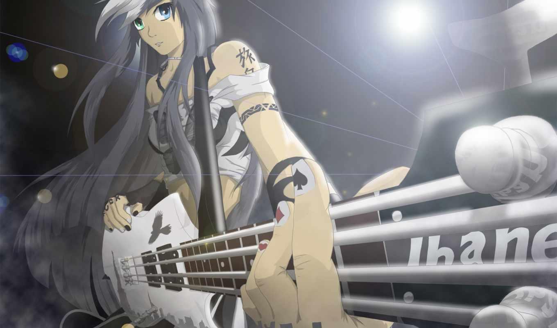 музыка, девушка, anime, гитара, rock, тату, devushki,