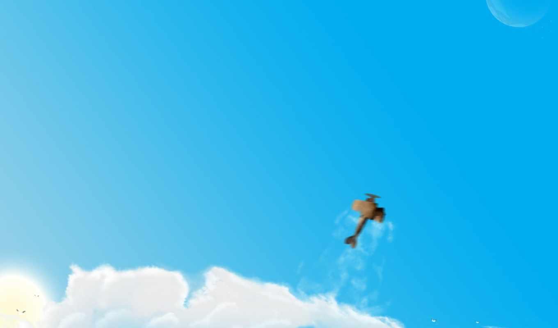 обои, авиация, самолет, облака, разное, рисунок, г