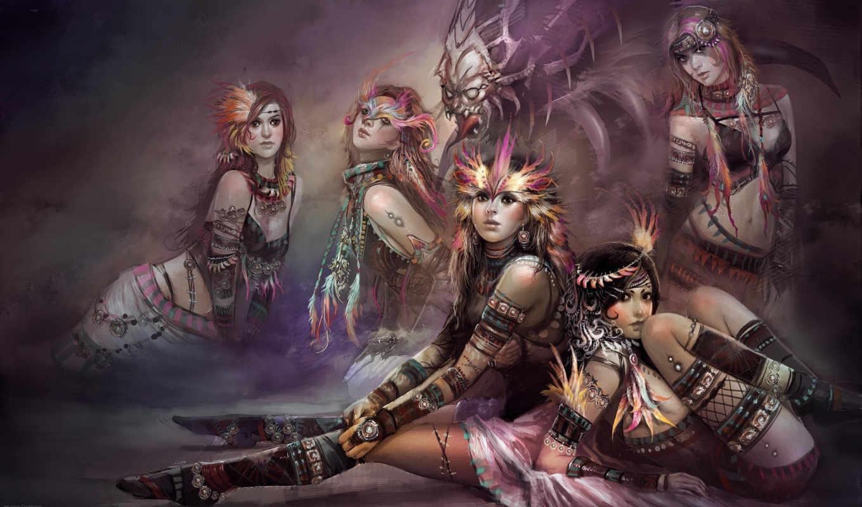арт, девушки, huang, dahong, фэнтези, картинка, девушка, смотрите,