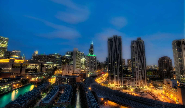 ночь, чикаго, иллинойс, картинка, вертикали, города, имеет, горизонтали,
