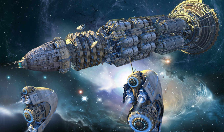космический, корабль, разделе, звезды,