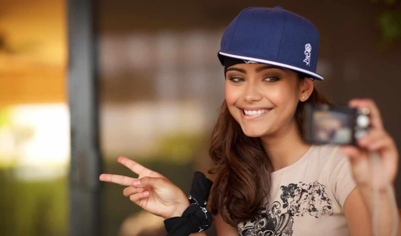 devushka, kartinka, красивые, кепка, фотоаппарат, шляпа, красивых,