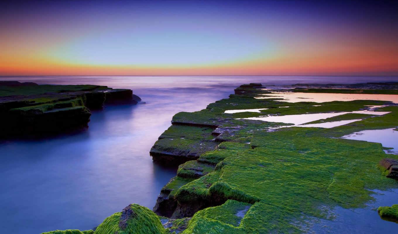 природа, красивая, закат,
