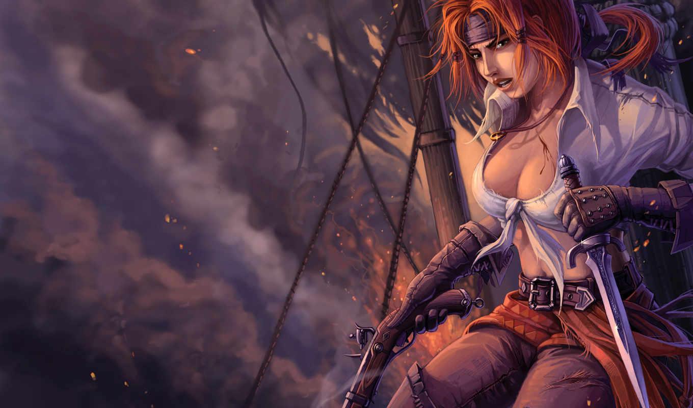 пиратский, девушка, fantasy, пираты, корабль,