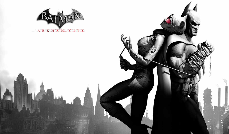 batman, arkham, город, catwoman,