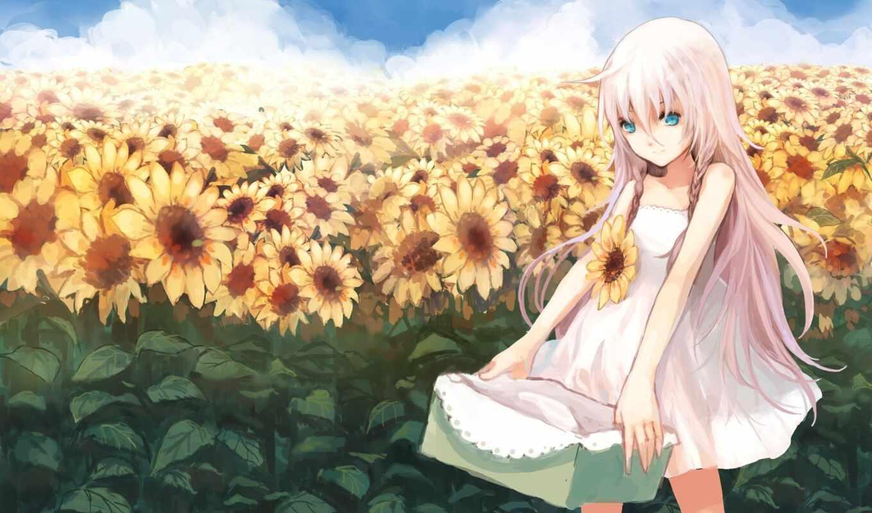 anime, волосы, розовый, подсолнух, девушка, blue, облако, платье