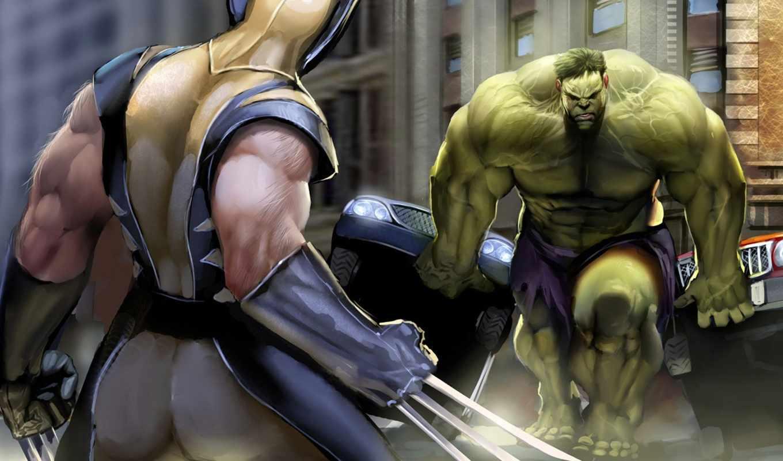 wolverine, халк, comics, комикс, битва, когти, marvel, противостояние, сила, герои, супер,