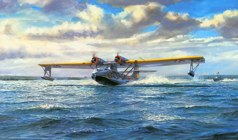 pby, consolidated, catalina, патрульный, бомбардировщик, морской, авиация, art, широкоформатные, painting,