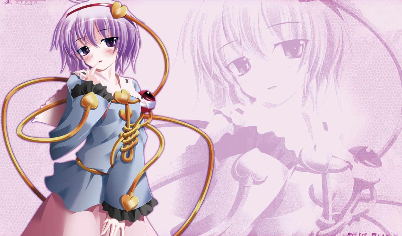 hair, anime, purple, komeiji, satori, girl, with, touhou, eyes,