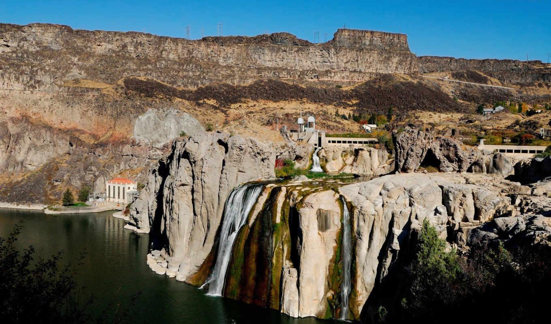 nature, waterfall, landscapes, пейзажи, mountains, river, горы, картинка, имеет, горизонтали,