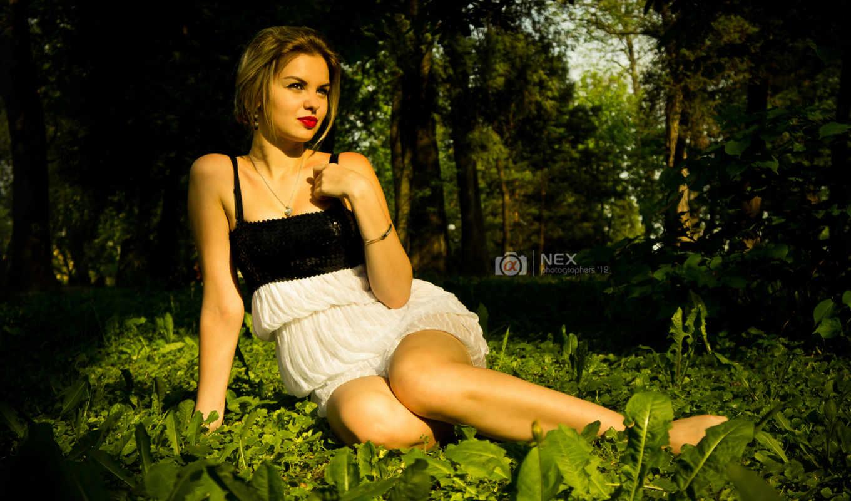 девушка, природа, лес, зелень, платье, губки,
