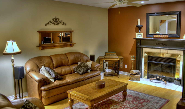 комната, living, диван, интерьер, диваном, кухни, столик,