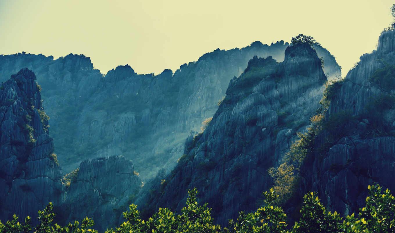 таиланд, горы, природа, деревя, ocean, картинка, sun, prachuap, khiri,
