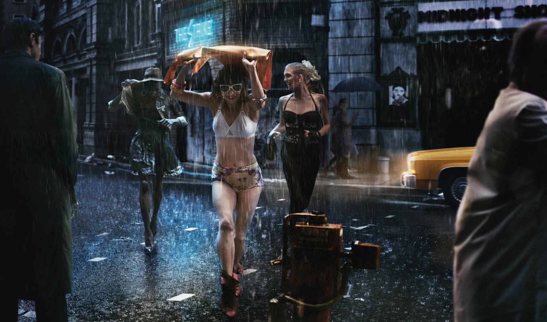 дождь, улица, devushki, радость, плащи, зонты, мужчины,