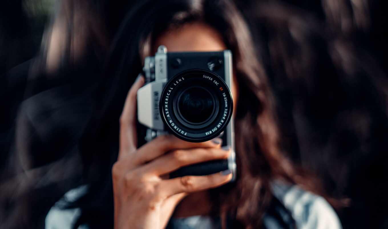 фотоаппарат, focus, размытость, девушка, объектив, тема, mirrorless