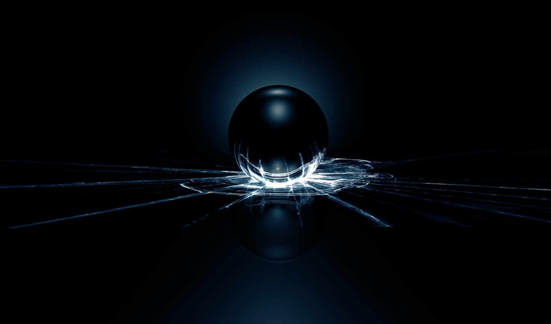 шар, свет, трещины, glass, фоном, черным, crack, просмотреть,